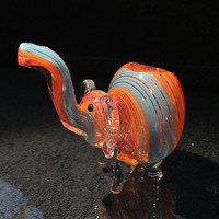 Multicolor Hand Blown Glass Smoking Pipe Spoon Style Bowl Glass Elephant Pipe
