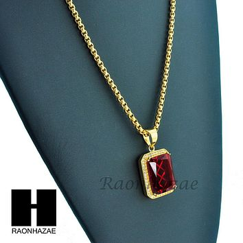 """MEN 316L STAINLESS STEEL RED RUBY PENDANT W 24"""" BOX CHAIN NECKLACE S220"""