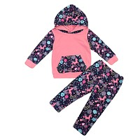 Autumn Floral Newborn Toddler Kids Girls Long Sleeve Hooded Tops+Pant Legging 2PCS Outfit Tracksuit Autumn Clothing Set