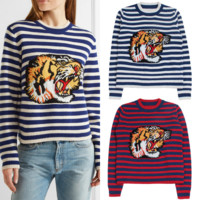 Gucci Fashion Long Sleeve Top Sweater Round Neck Tiger Embroider Sweatshirt