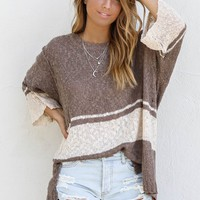 On Hold Loose Fit Mocha Sweater Top
