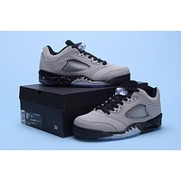 Hot Sale Air Jordan Retro 5s Gray Wolf Low Barons basketball shoes