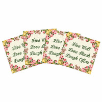 "NL Designs ""Live, Love, Laugh"" Floral Typography Indoor/Outdoor Place Mat (Set of 4)"
