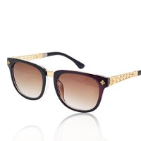 Plastic Frame D Shape Synthetic Resin Lens Sunglasses With Hollow Out Metal Legs Detail 052212 S0606 Color Brown