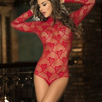 Red Lace Hearts Teddy