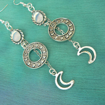 moon goddess earrings, moon phase,opal earrings, galaxy earrings