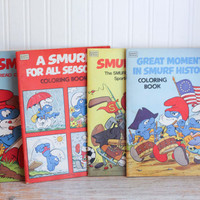 Set of 4 1982 Vintage Smurf Coloring Books, Smurf's Up, Smurf Learn To Read, Smurf All Seasons, Great Moments Smurf History, Coloring Pages