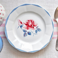 vintage french plates with rose pattern - set of 4