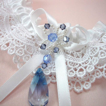 Swarovski Crystal Garter, Lace trim garter with Blue Swarovski Crystals