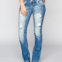 Amethyst Jeans Trumpet Womens Destructed Bootcut Jeans Light Blast  In Sizes