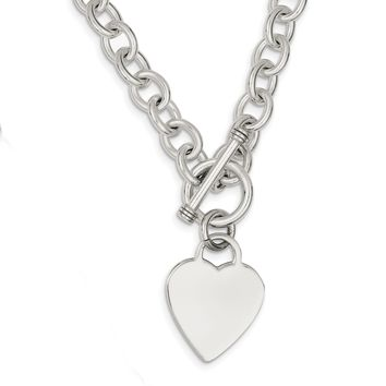 Sterling Silver Heart Fancy Link Toggle Necklace QG1151