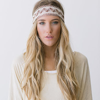 Great Gatsby Embroidered Lace Ivory and Cream Stretchy Headband Wedding Hair Band Wide Stretchy Lace Hairband (HB-38)