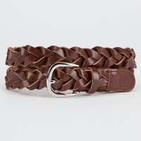 Mid-Width Braided Faux Leather Belt Brown  In Sizes