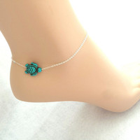 Green, Turtle, Silver, Anklet, Cute, Minimal, Ankle, Jewelry