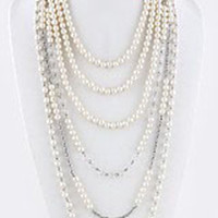 Pearl Ball Tiered Necklace Set