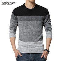 New Autumn Fashion Brand Casual Sweater O-Neck Striped Slim Fit Knitting Mens Sweaters