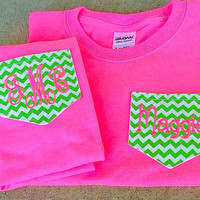 Adult and Youth Matching Monogrammed Chevron Pocket Tee- Gift-mommy and me