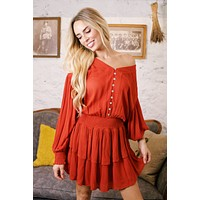 Stop the World Smock Peasant Dress, Burnt Orange