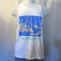 Vintage Awesome 80s White SAUSALITO YACHT GRAPHIC Mens Cotton Tank