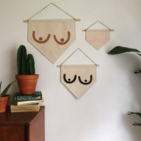 Boob Banner // banners, wall banners, art banners, free the nipple, feminist art