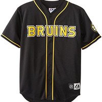 NHL Boston Bruins Short Sleeve Button Front Baseball Style Jersey Big and Tall