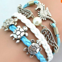 Sea Turtle & Sea Horse & Wing 2014 New Fashion Vintage Charm Bracelet Jewelry
