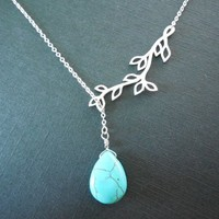 Sideways, Tree, Branch, Turquoise, Drop, Stone, Gold, Silver, Necklace