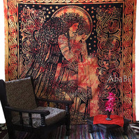 LARGE ANGEL TAPESTRY, Cotton Tapestry Wall Hanging, Indian Tapestry Bedspread, Hippie Tapestry, Bohemian Throw Ethnic Home Decorative Art