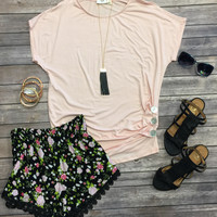Triple Threat Button Top: Blush