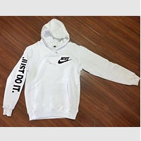 "N ""NIKE"" ""Just do it"" Sleeve Women Men Fashion Hooded Top Pullover Sweater Sweatshirt (4-color) F"