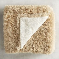Tan Shaggy Sherpa Throw