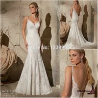 2017 Sexy V-neck Backless Appliques Long Mermaid Lace Wedding Dresses Beaded Straps Court Train Wedding Gowns Bridal Gown