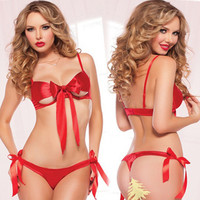 2016 Hot Sexy Red Butterfly Three Point Sets Lingerie Erotic Lingerie Teddy Sexy Underwear Sexy Costumes Sexy Lingerie
