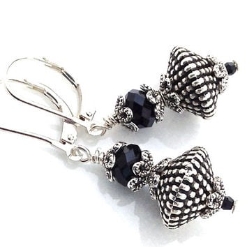 Black Earrings, Earrings Leverback, Black Drop, Silver, Dangle, Swarovski Crystal, 292
