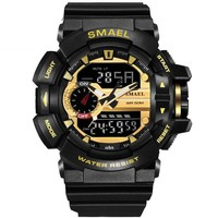 Sport Watches For Men Military Watch Waterproof Dual Time Golden Male Clock 1436 Led Wristwatches SHOCK Digital Male Watch