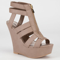 Qupid Finder Womens Wedges Taupe  In Sizes