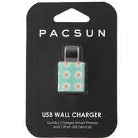 PacSun Mint Daisy USB Wall Charger - Womens Scarves - Green - One