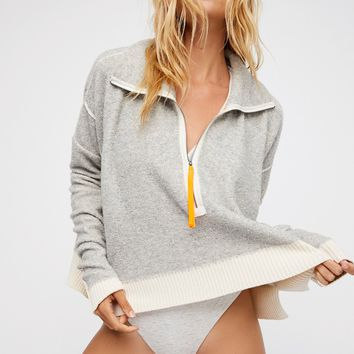 Free People Soft Touch Zip Up Pullover
