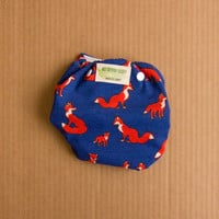 AI2 One Size Foxes w/ Dark Blue Background Adjustable Cloth Diaper