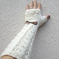 Fingerless Gloves, Long, White Wedding Accessories, Ivory, Pure Soft Wool, Chunky, Cable Pattern, Cozy Warm , Cream, Christmas Gift, All day