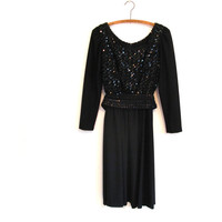 1970s vintage black sequin party dress - long sleeves - sequined sash - knee length - small / medium