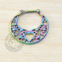 Oil Slick Heart Lace Steel Septum Clicker