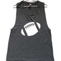 SALE - LARGE - GREY FOOTBALL MUSCLE TANK - Ruffles with Love - Womens Fitness - Workout Clothing - Workout Shirts with Sayings