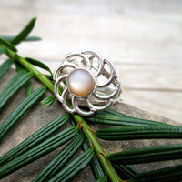 Natural Sunstone Ring, Sterling Silver, Petite Flower, Natural Stone Ring, Nature Jewelry