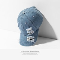 Trendy Winter Jacket INFLATION Denim holes damaged casual baseball caps fashion streetwear mens hat adjustable brand summer snapback caps 097CI2018 AT_92_12