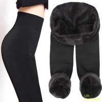 Trend Knitting Free shipping HOT SALE 2015 winter new High elastic thicken lady's Leggings warm pants skinny pants for women