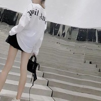 """""""Palm Angle"""" Women All-match Gothic Fashion Letter Logo Embroidery Long Sleeve Sweater Tops"""
