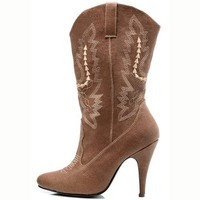 4 Inch Sexy Cowgirl Boots High Heel Mid Calf Boot Size: 7 Colors: Brown