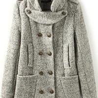 Warm Double-breasted Heather Coat