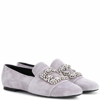 Flower Strass suede loafers
